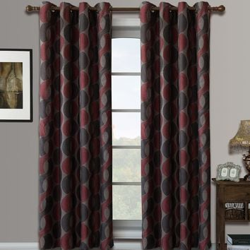Red Savanna Pair (Two Panels ) Jacquard Grommet Window Curtains