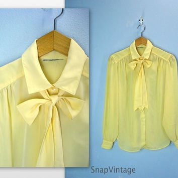 Daffodil Yellow Blouse / 70s Secretary Ascot Blouse / m-l