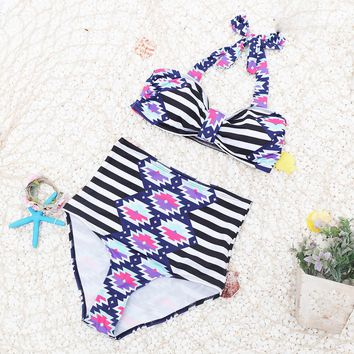Women's High Waist Printed Bikini
