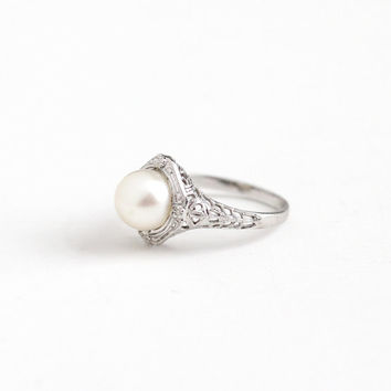 Vintage 14k White Gold Cultured Pearl Ring - Size 4 Art Deco 1930s June Birthstone Fine Flower Halo Jewelry , A & S