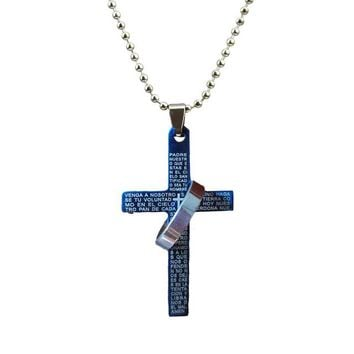 Alloy Bible Cross Circle Pendant Necklace