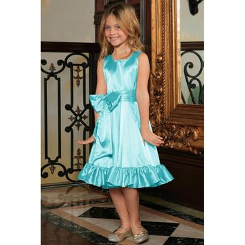 Light Blue Fit & Flare Summer Party Midi Princess Dress Flower Girl