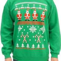 Ugly Christmas Santa Claus Snowflake and Candy Cane Design Adult 8-Bit Green Sweatshirt