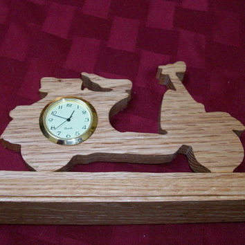 Motorcycle wooden miniature desk clock