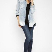 BCBGMAXAZRIA - SHOP BY CATEGORY: TOPS: VIEW ALL: BCBGENERATION STUDDED-SHOULDER DENIM SHIRT