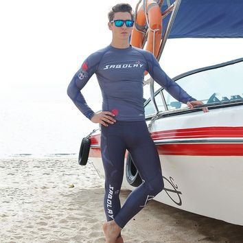 SABOLAY Resist UV Men Surf T Shirt Swimming Pants Tops Scuba Diving Suits Swimwear Watersport Clothing Sports Surfing Swimsuits
