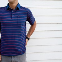 Classic Stripe - Blue with Red