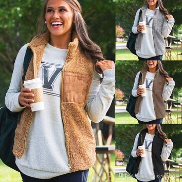 Women's Winter Warm Hooded Waistcoat Vest Outwear Casual Coat Faux Fur Zip Up Sherpa Jacket Chaleco Mujer FS5188