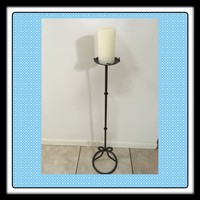 Candle Holder Pedestal Floor Pillar Vintage Metal 36 Inches Tall