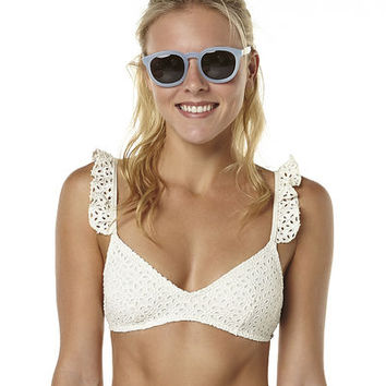 BILLABONG DAISY BROIDERY FRILL BRALETTE SEPARATE TOP - SEASHELL