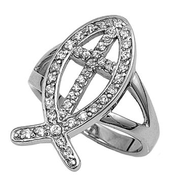 925 Sterling Silver CZ Jesus Fish Ring 25MM