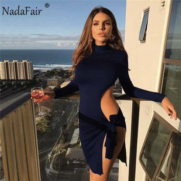 Nadafair long sleeve turtleneck autumn dress women sexy high side split mini dress slim hollow out bow lace up party dresses