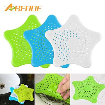 ABEDOE Creative Kitchen Gadgets Silicone Star Shaped Sink Filter Bathtub Drain Hair Sewer Colanders Strainers Filter Bathroom