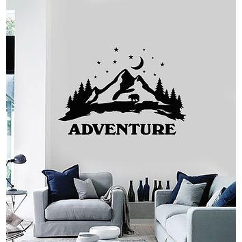 Vinyl Wall Decal Night Moon Stars Bear Adventure Mountains Landscape Stickers Mural (g1728)