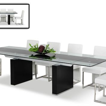 Modrest Lisbon - Extendable Glass Dining Table Dark Wenge 10ft