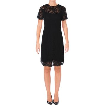Lauren Ralph Lauren Womens Lace Overlay Knee-Length Casual Dress