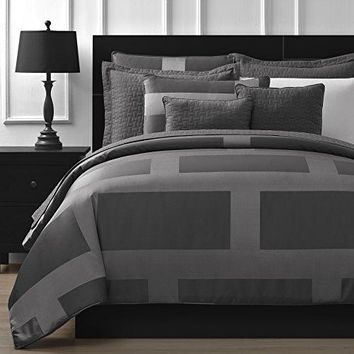 Jacquard Microfiber Queen 5-piece Comforter Set, Gray