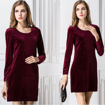Women Velvet Dress 2017 Fashion Long Sleeve Spring Solid Color Casual O-Neck Evening Party Dresses 5 Colors