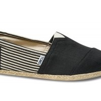 TOMS Shoes University Rope Sole Classic Black Canvas Slip-on Men's Shoes,