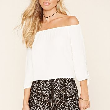 Embroidered Lace Overlay Shorts