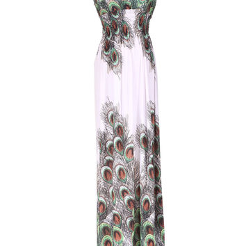 Shoulder Ties Peacock Maxi Dress