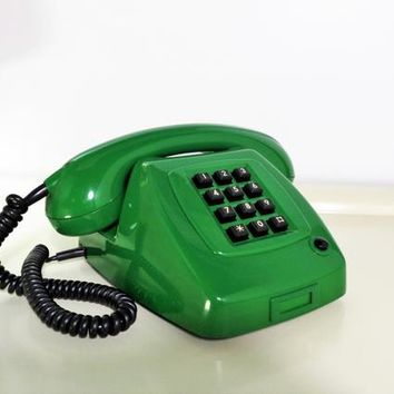 Vintage Telephone Ericsson Smaragd de Luxe Retro Design Telephone 10 buttons Push Green Color Mechanical Telephone 70s