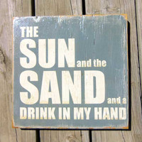 Typography Wall Art Sun and Sand Wood Sign by 13pumpkins on Etsy