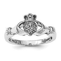Sterling Silver Rhodium Diam. Claddagh Ring