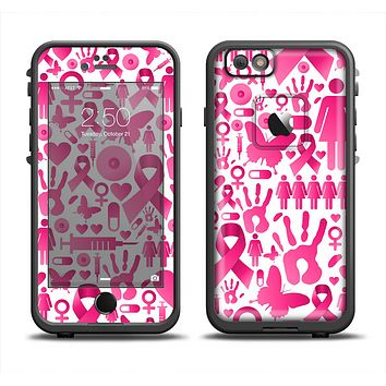 The Pink Collage Breast Cancer Awareness Apple iPhone 6/6s LifeProof Fre Case Skin Set