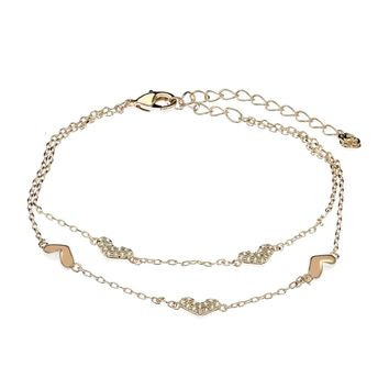 Women's Heart Bracelet Swarovski Element Tennis Bangle Crystal Jewelry for Woman Aluminum Plated