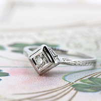 Antique Engagement Ring | Art Deco Ring | Dainty Diamond Ring | 18k White Gold Ring | 1920s Promise Ring | Wedding Ring | Size 5.25