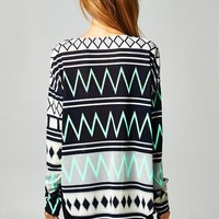 Zig zag black/jade long sleeve tunic