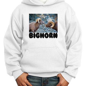 Two Bighorn Rams Text Youth Hoodie Pullover Sweatshirt
