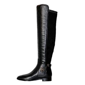 Tory Burch Wyatt Over The Knee Leather/Fabric Women's Boots Shoes Perfect Black