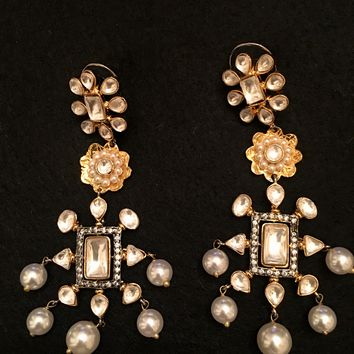 Long Statement Floral Design Pearl and Kundan earrings