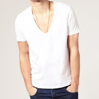 Men's Luxury Basic White T-shirt With Deep V Neck