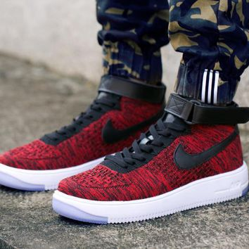 PEAPON Nike Air Force 1 Flyknit Mid-High 817420-602 Wine Red For Women Men Sneakers