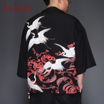 Trendy Zongke Japanese Kimono Cardigan Men Crane Print Long Kimono Cardigan Men Thin Black Mens Kimono Cardigan Jacket 2018 Summer AT_94_13