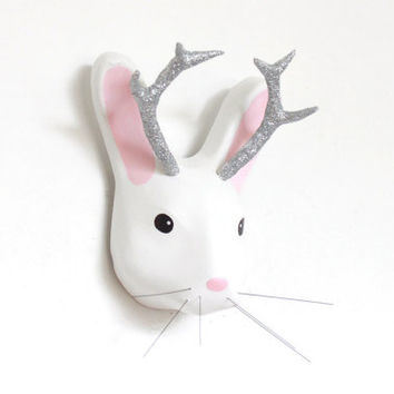 Jackalope, Jackrabbit with the silver sparkling glitter anthlers - Jackalope Mount - Animal Friendly paper mache Decor