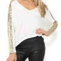 White Long Sleeve Sequined V-neck T-Shirt