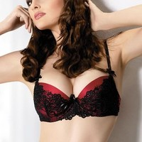 Gracya B-152 Carmina Black and Red Push- Up Bra 32A UK/32AA US/85A FR black