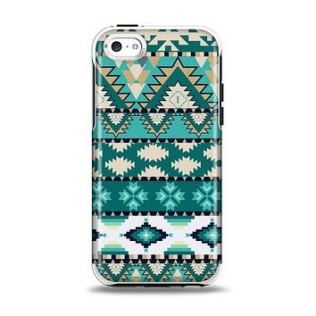 The Vector Teal & Green Aztec Pattern  Apple iPhone 5c Otterbox Symmetry Case Skin Set