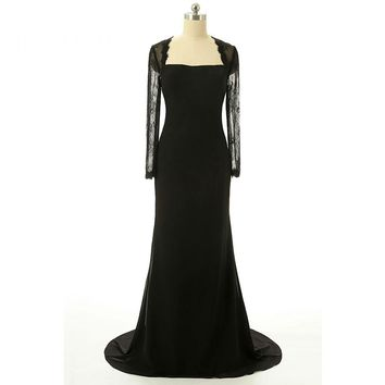 New Arrival Sexy Scoop Chiffon Long Evening Dresses Long Sleeves Back With Bow Floor Length Evening Dress