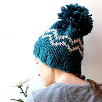 Blue Beanie Hat, Adult One Size, Blue Hat, Warm Winter Hat, Pom Pom Hat, Chunky Knit Hat, Winter Wear, Unique Winter Hat, Hipster Hat