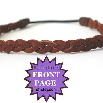 Leather Braided Hippie Headband  Boho Hairband, comfortable  - brown suede