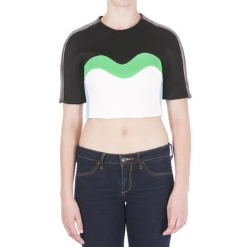 Josh Goot Womens Metallic Colorblock Crop Top