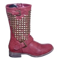 Metal Studded Mid Calf Riding Boots with Buckle