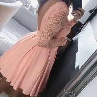Solid Color Round Neck Lace Chiffon Dress