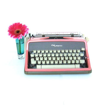 pink typewriter cursive script working vintage typewriter olympia 1960s 1960 midcentury mid century wedding decor photo prop