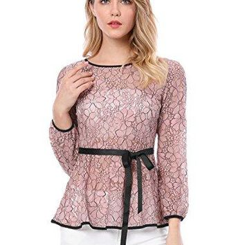 Allegra K Womens SelfTie Waist Contrast Semi Sheer Lace Peplum Top